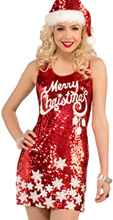 80d52344 Forum Novelties Women's Plus Size Racy Red Sequin Merry Christmas Costume  Dress, Red/White