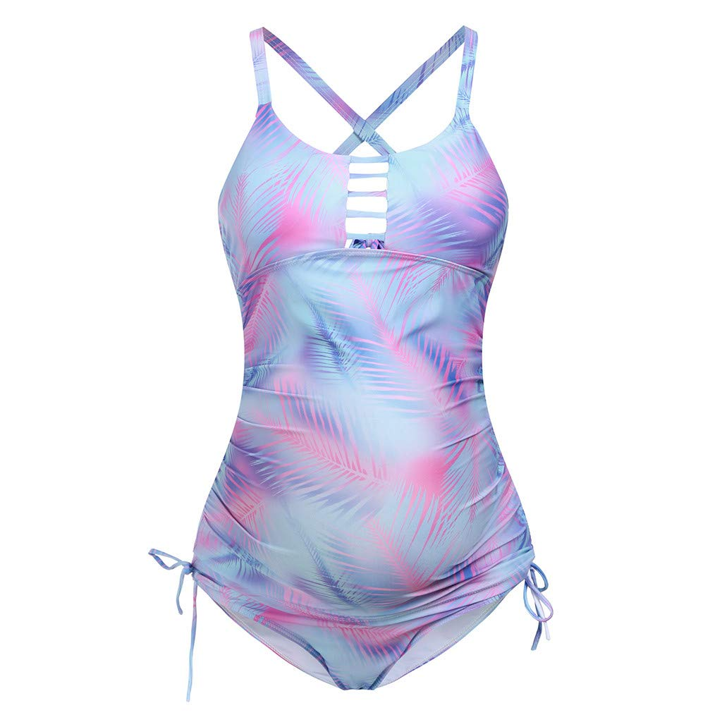 Bikinis para Embarazadas Trajes de Ba/ño de Premama Tankini Tie-Dye Ba/ñador Premama Una Pieza Cinnamou Ropa Deporte Premama