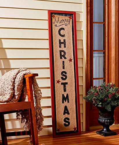 4-Foot Tall Merry Christmas Burlap Sign - Red