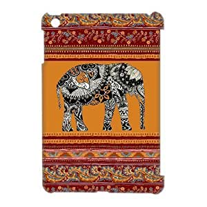 Custom Cover Case with Hard Shell Protection for Ipad Mini 3D case with Elephant Art on Aztec lxa#430996 by icecream design