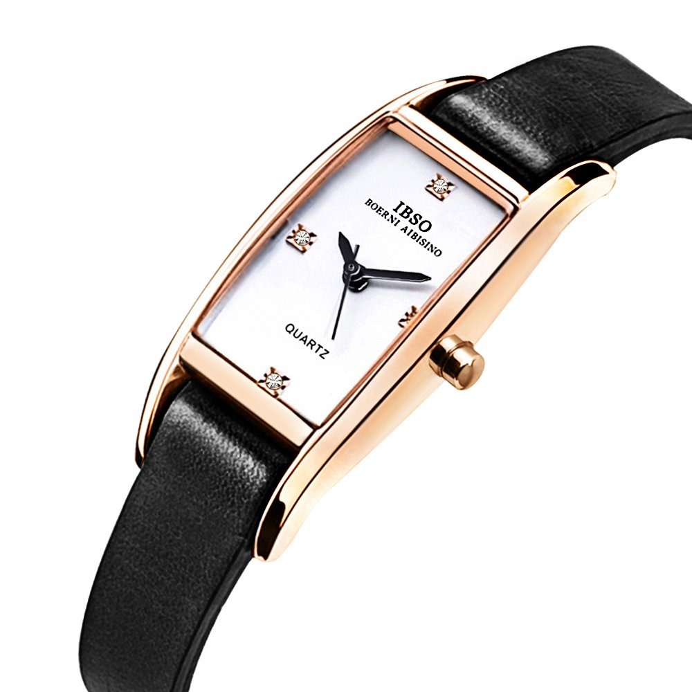 IBSO Women Rose Gold Watches Ladies Crystal Small Square Face Narrow Leather Band Bracelet Wristwatch (Black)
