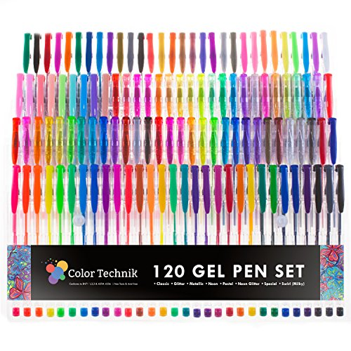 120-Gel-Pens-by-Color-Technik-INDIVIDUALLY-UNIQUE-Best-Colors-On-AMAZON-Glitter-Metallic-Neon-Glitter-Special-Neon-Swirl-Milky-Classics-Now-With-More-Ink-Enhance-Your-Adult-Coloring-Book-Now