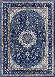 Djemila Medallion Blue Vintage Persian Floral Oriental Area Rug 8 x 11 ( 7'10'' x 10'6'' ) Distressed Modern Thick Soft Plush