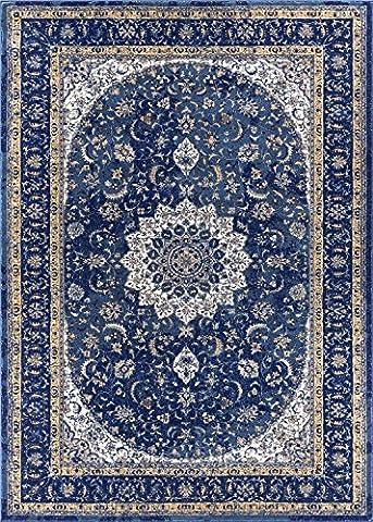 Djemila Medallion Blue Vintage Persian Floral Oriental Area Rug 8 x 11 ( 7'10