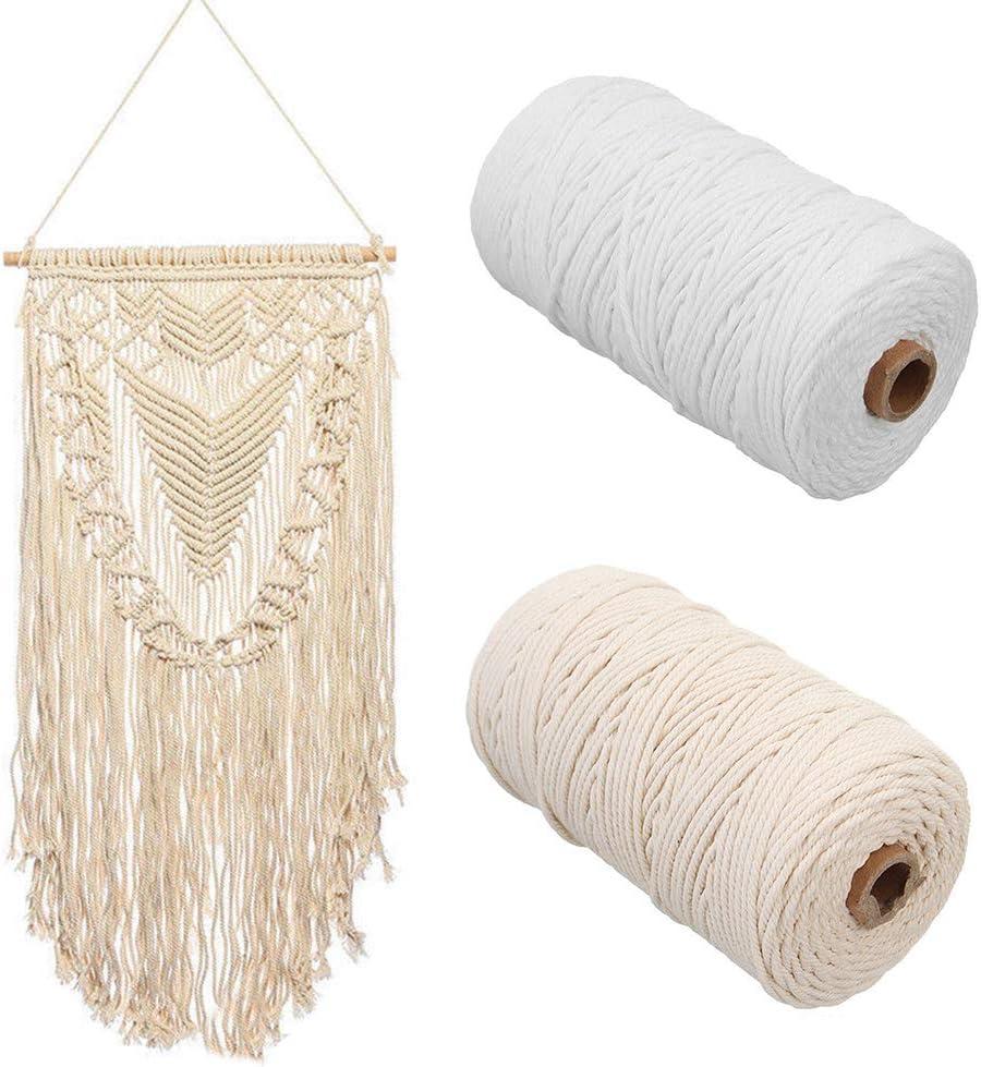 artisanat beige 3 mm x 200 m corde /à tricoter Corde en coton naturel torsad/ée en macram/é faite /à la main pour suspendre les plantes /à suspendre free size