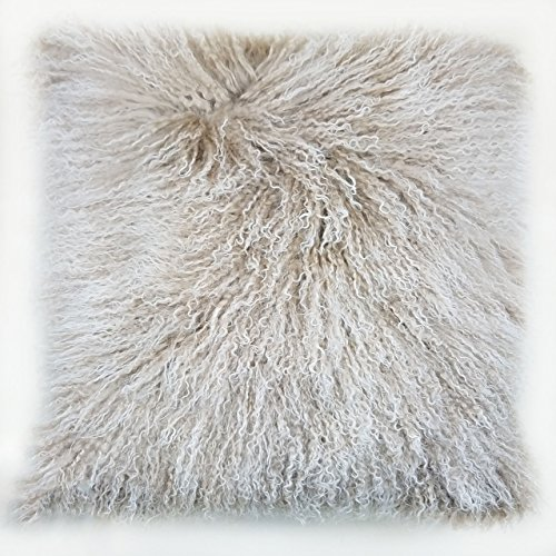 C.F. Inspirations Tibetan Lamb Fur Pillow Cover Frosted Tan 18