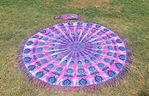 Tassel Fringe Roundie Tie Dye Mandala Beach Throw, Round Mandala Sheet, Tassel Fringes Mandala, Meditation Yoga Mat with Beautiful Carry Bag