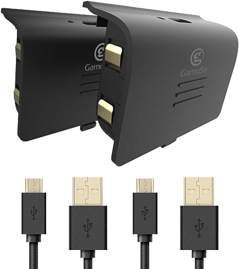 GameSir Paquete de Batería para Xbox One, Batería Recargable de 800mAh (2 Paquetes) con Cable USB de Carga de 10 Pies para los Controladores de Xbox One, Negro: Amazon.es: Videojuegos