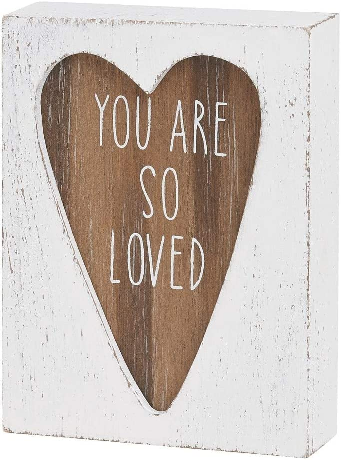 "Mini 4"" Carved Wood Block Sign (You Are So Loved)"