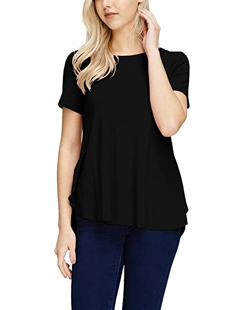 49a95099ed7 TAM WARE Womens Stylish Short Sleeve French Terry Tunic Top (Made in USA)  TWAWD158A