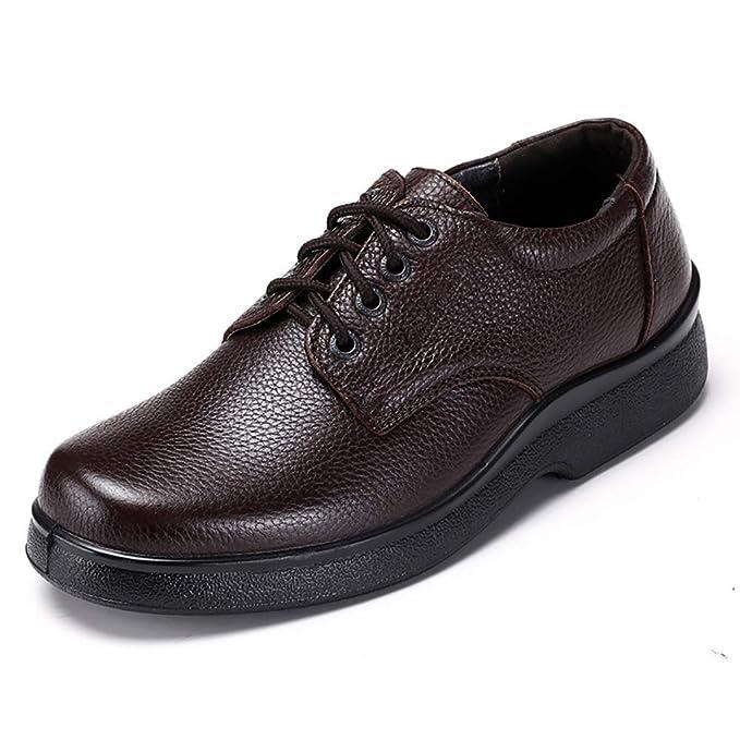 FHTD Zapatos De Hombre Mocasines Planos De Cuero Con Tacón Alto Slip On Zapatos Informales Ligeros Trabajo: Amazon.es: Ropa y accesorios