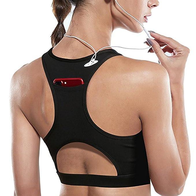 31e155f25 Women s High Impact Back Pocket Sports Bra Running Padded Yoga Bra  Racerback Activewear Bras (M