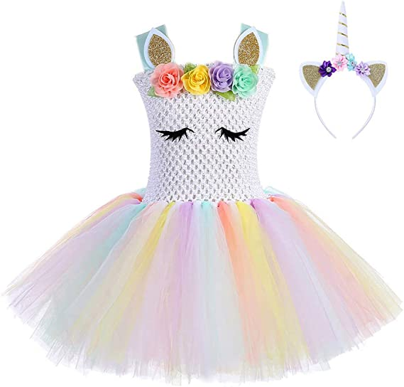 FONLAM Vestido de Bautizo Fiesta Niña Bebé Disfraz de Unicornio ...
