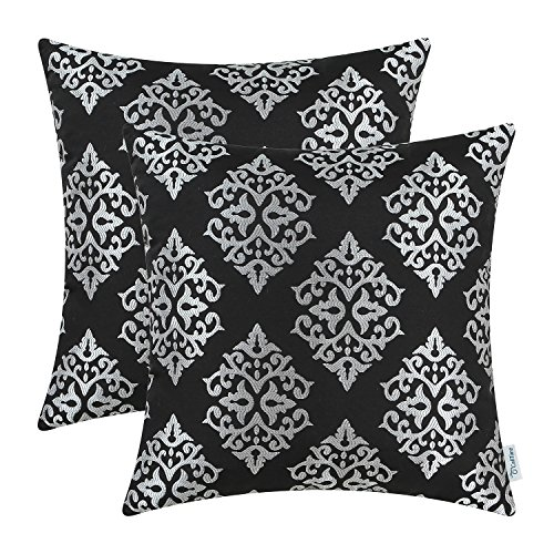 Pack of 2 CaliTime Soft Throw Pillow Covers Cases for Couch Sofa Home Decor, Vintage Damask Floral, 18 X 18 Inches, Black ($100 For Couches Under Cheap Sale)