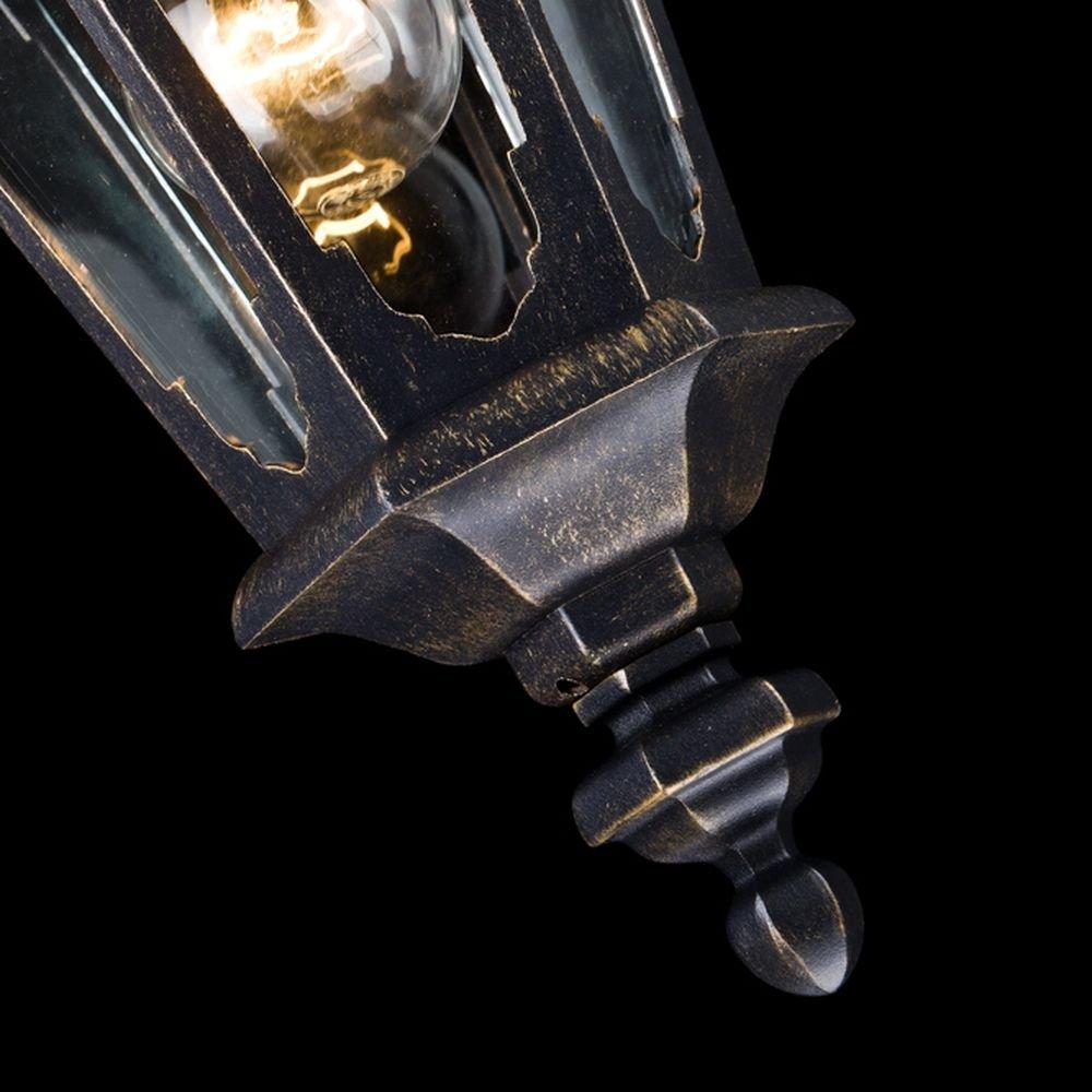 rustikal und klassisch f/ür Beischlag schwarzes Alu Antike vintage Pendelleuchte au/ßen Laterne Terrasse exkl.1 E27 60W IP44 klares Glas