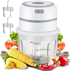 [Upgrade] Cordless Electric Mini Garlic Chopper, Food Slicer Chopper, 300ML BPA-Free Glass Bowl Food Blender Mini Chopper Food Processor For Meat Chili Vegetable Nuts, IP68 waterproof, White