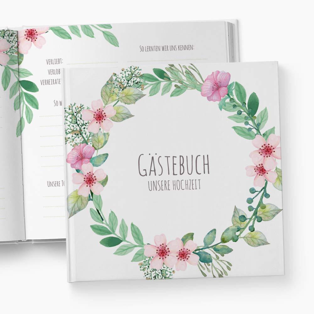 Myindividoo Gästebuch Boho, mit Fragen Ankreuzen, Hochzeitsgästebuch, Hochzeitsgeschenk, Geschenk, Hochzeit, Blumen, Blüten, Boho, Bohemian, Blumenkranz, Blütenkranz