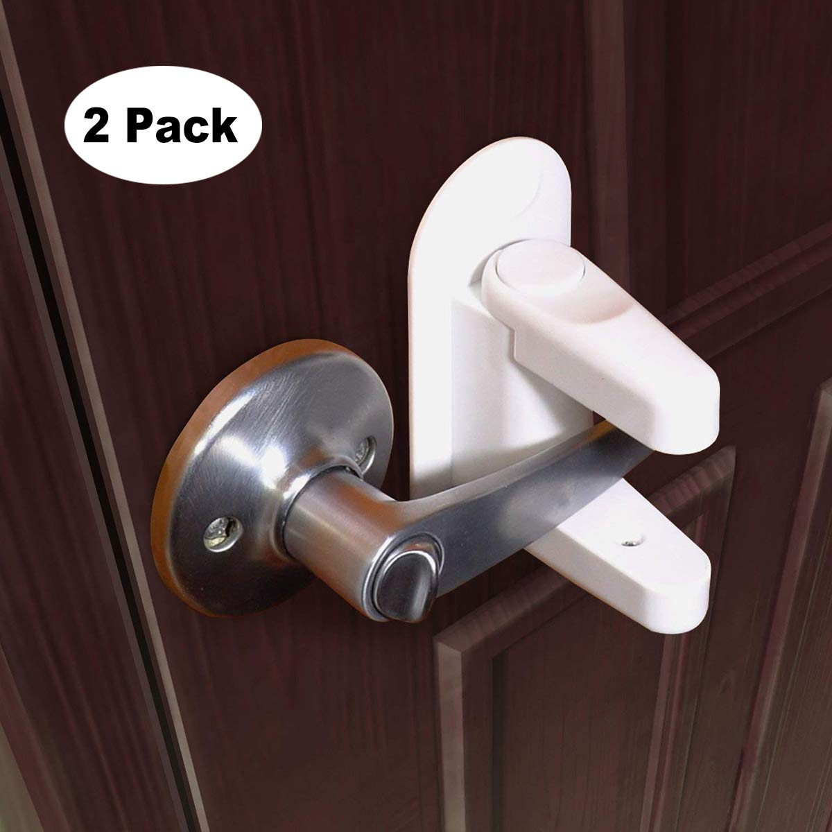 Baby Safety Lock Door Handle HIDARLING Door Lever Lock 3M Adhesive 2 Pack Child Safety Locks (White)