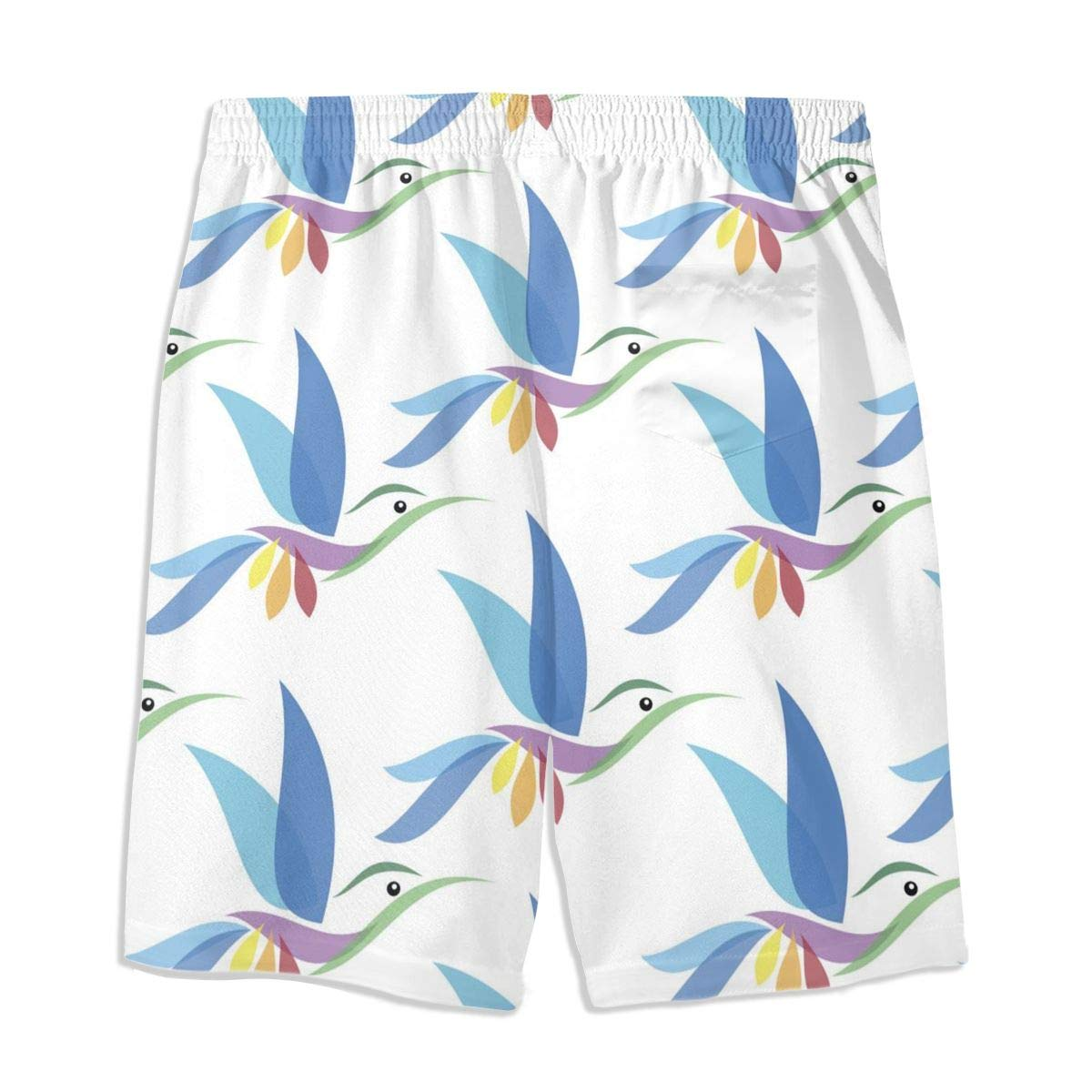 Mens Swim Trunks Blue Hummingbird Printed Beach Board Shorts with Pockets Cool Novelty Bathing Suits for Teen Boys