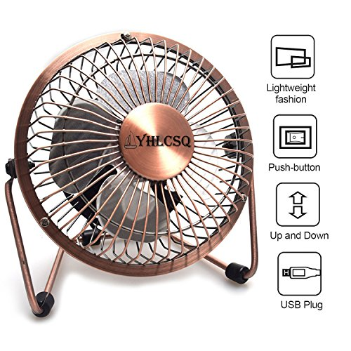 YHLCSQ 4 Inch USB Fan Mini Desktop Metal Blades Cooling Fan with 360 Degree Rotation and Adjustable Angle for Laptop Notebook Tablet PC (4 inches Copper)