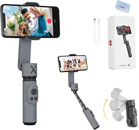 Todo para el streamer: Zhiyun Smooth X Smartphone Estabilizador de Cardán para iPhone 11 Pro Xs Max Xr X 8 Plus 7 6 SE Android Samsung Galaxy S10 Huawei Vivo Cell Phone Vlog Kit Selfie Stick Extensible YouTube TIK Tok Vídeo