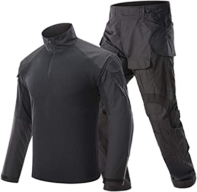 Conjuntos de Ropa Militar Hombre Uniformes tácticos Conjuntos de Traje Camuflaje Camisetas de Manga Larga Black S: Amazon.es: Ropa y accesorios
