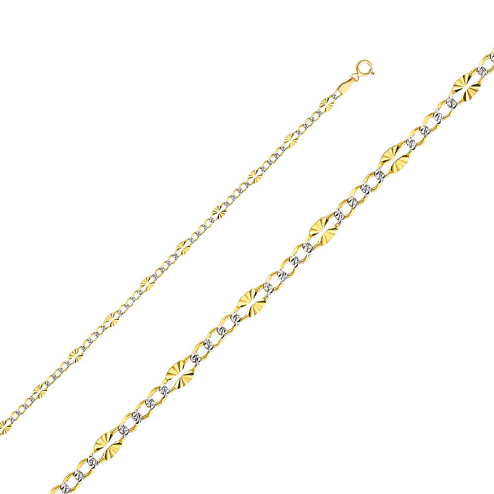 Wellingsale 14k Yellow Gold SOLID 3.5mm Polished Stamp Figaro 3+1 White Pave Diamond Cut Diamond Cut Chain Necklace - 24''