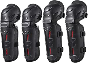 Decdeal 4PCs Cycling Knee Brace and Elbow Guards Bicycle MTB Bike Motorcycle Riding Knee Support Protective Pads Guards Outdoor Sports Cycling Knee Protector Gear
