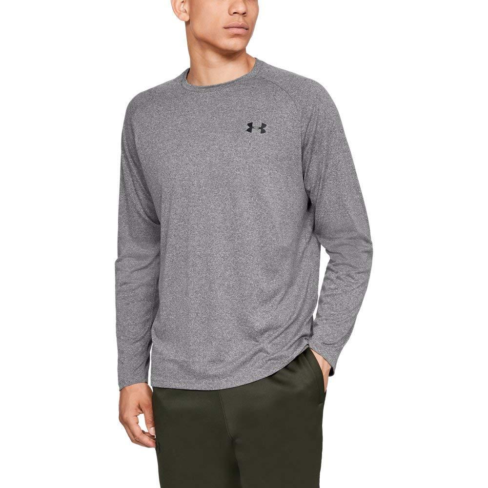 Under Armour Men's Tech Long sleeve Shirts, Charcoal Light Heath (019)/Black, Small