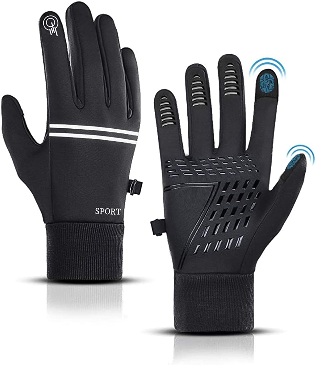 Winter Gloves Gifts for Men Women Running Outdoor Sports Gloves Touch Screen Anti-slip Waterproof Windproof Thermal Gloves for Cycling Running Hiking Driving Alintor Cycling Gloves