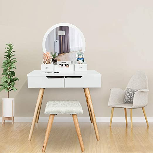 Amazon Com Bonnlo Vanity Table Set With Round Mirror For Girls White Bedroom Dressing Table With Vanity Stool 4 Drawers Makeup Table With Removable Desk Makeup Organizer Kitchen Dining