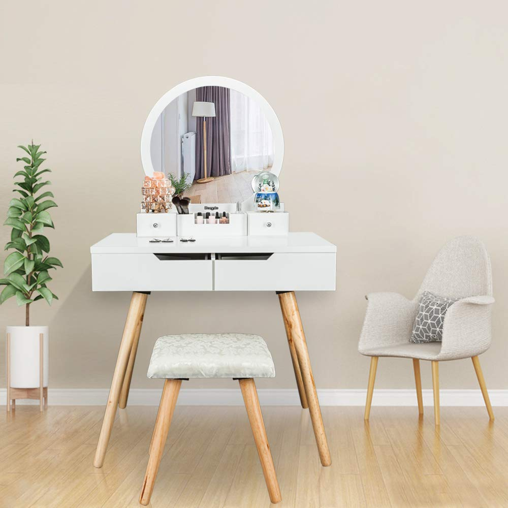 Bonnlo Vanity Table Set with Round Mirror for Girls White Bedroom Dressing  Table with Vanity Stool,4 Drawers Makeup Table with Removable Desk Makeup  ...