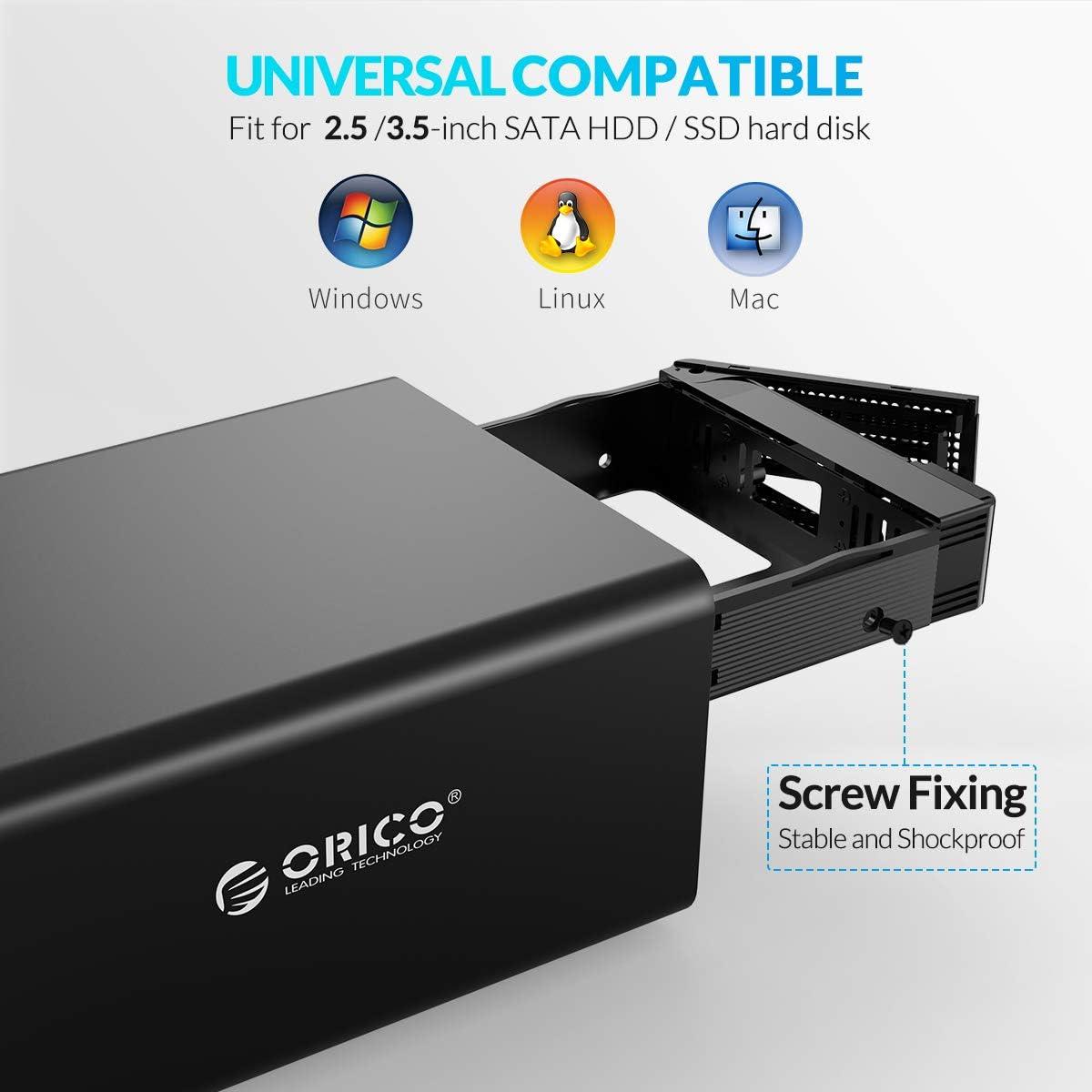 e eSATA 2 * 16 TB UASP connessione USB 3.0 RAID 0//1 SPAN PM su Windows//Mac//Linux alimentatore esterno 48W Orico disco rigido doppia docking station per HDD//SSD SATA da 2,5//3,5 pollici