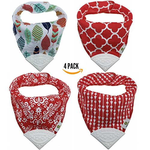 Pickle & Olive Baby/Toddler Red Bandana Teething Bibs With Attached BPA-Free Silicone Teether Toy Corner, Set Of 4, Water-Resistant, Adjustable Snaps, Best Unique Baby Shower Gift For Moms, Feather