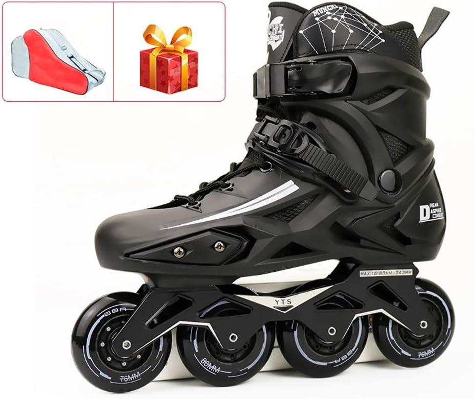 ベストスポーツインラインスケート、サイズ調整可能、ティーン向けインラインスケート、最大サイズ44 (Color : 黒, Size : EU42) 黒 EU42
