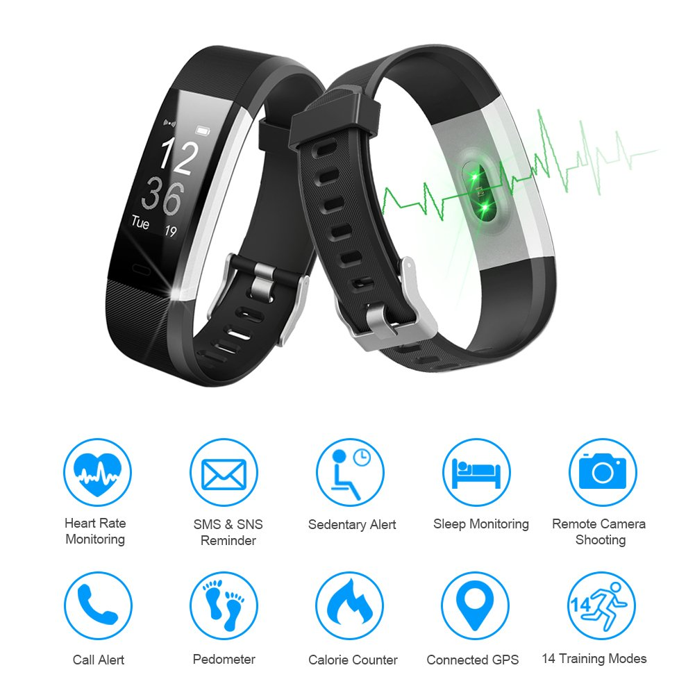 LETSCOM Fitness Tracker HR, Activity Tracker Watch with Heart Rate Monitor, Waterproof Smart Fitness Band with Step Counter, Calorie Counter, Pedometer Watch for Kids Women and Men by LETSCOM (Image #2)