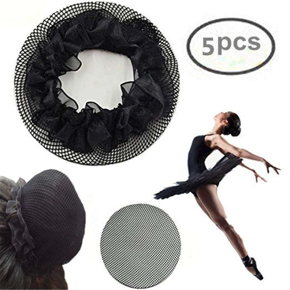 Schwarz 5 Stueck Damen Ballett Tanz Elastisches Haarband Haarnetz