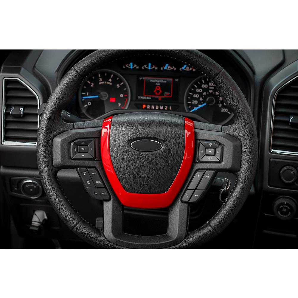 Voodonala Red Accessories Steering Wheel Covers Trim for 2015 2016 2017 Ford F150 F250 F350 Super Duty Voodonalac0