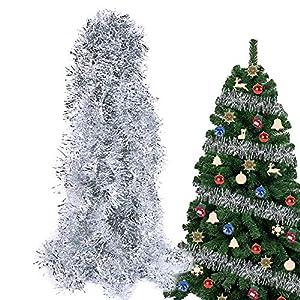 BHGT 6 Pezzi Ghirlanda Natalizia Festone Orpello Argento per Albero di Natale Decorazioni Natalizie Addobbi Ornamenti Natalizi 6 spesavip