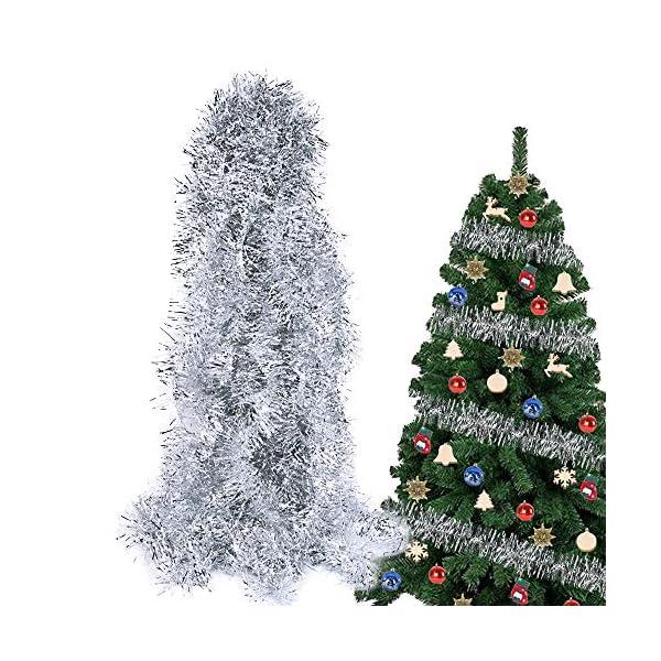 BHGT 6 Pezzi Ghirlanda Natalizia Festone Orpello Argento per Albero di Natale Decorazioni Natalizie Addobbi Ornamenti Natalizi 1 spesavip