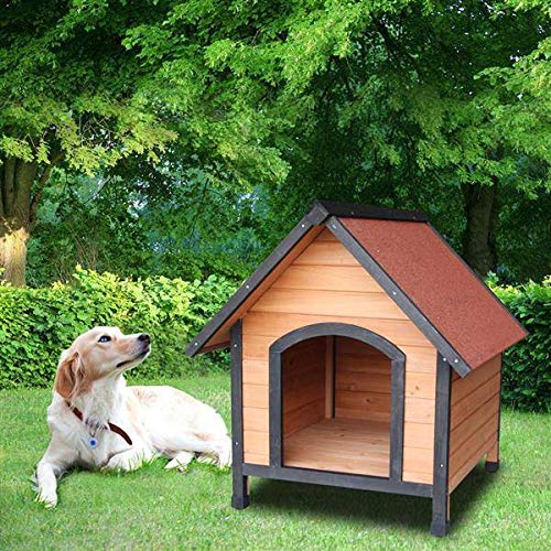 FRITHJILL Dog House,Wooden Dog Room Shelter,Raised Roof and Balcony Bed for Indoor and Outdoor Use, Wood Dog House