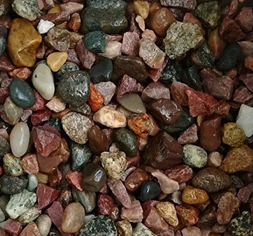 Safe & Non-Toxic {Various Sizes} 5 Pound Bag of Gravel, Rocks & Pebbles Decor for Freshwater & Saltwater Aquarium w/ Simple Outdoorsy Smooth Polished Earthy River Style [Tan, Gray & Red]