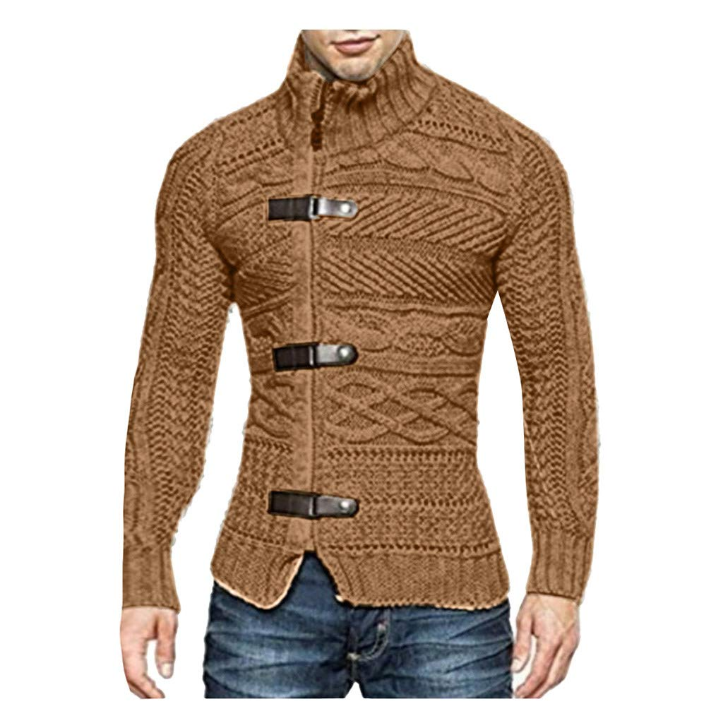 VZEXA Mens Sweaters Turtleneck Solid Knitted Slim Fit Jacket Zipper Long Sleeve Tops (Brown,XL) by VZEXA