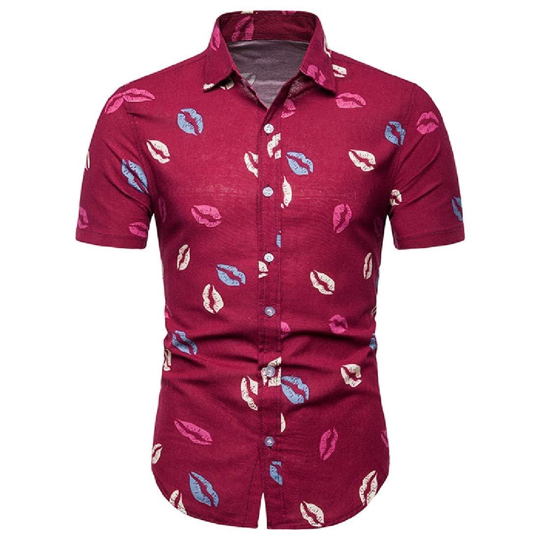 Vska Mens Hawaii Silm Fit Short-Sleeve Summer Printing Shirts