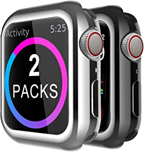 Compatible with Apple Watch Series 4 Case 44mm | Soft TPU Protective Bumper Cover Flexible Anti-Scratch Slim Thin Case for iWatch Series 4 (Black-Silver, 44mm)