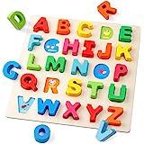 D-FantiX 木製アルファベットパズル - レター 大文字ペグボード並べ替えABCブロックマッチングゲームモンテッソーリジグソーパズル学習教育玩具ギフト用 幼児ベビーキッズ