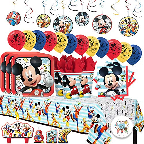 Another Dream Disney Mickey Mouse On The Go MEGA Deluxe Birthday Party Pack for 16 with Plates, Napkins, Cups, Tablecover, Candles, Hanging Swirl Decorations, and Balloons!