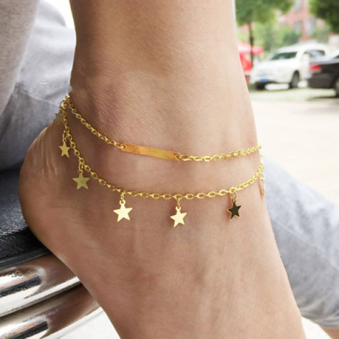 YOMYM Gold Sweet Simple Metal Pentagram Star Foot Chain Long Stripe Double Anklet MAIRAI
