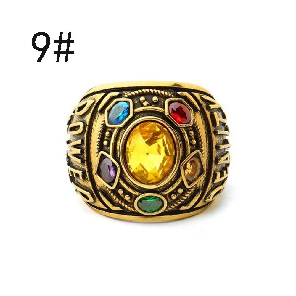 Gbell Vintage Power Rings Infinity Wars Thanos Jewelery Letter Gold Rings Statement for Men Women Teen Boys Girls Jewelry Gifts,Unisex,Size 7-12 by Gbell (Image #1)