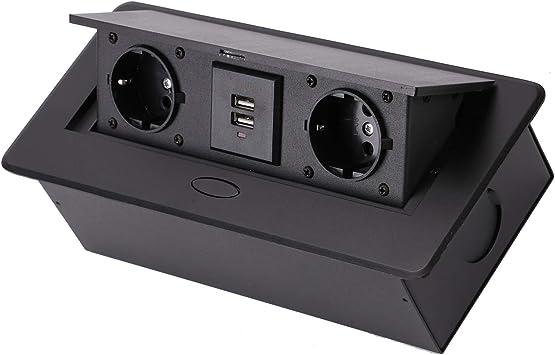 Tischsteckdose Steckdose versenkbar 1-fach Küchensteckdose Einbausteckdose USB